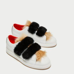 Zara LEATHER SNEAKERS WITH FAUX FUR-5632/201